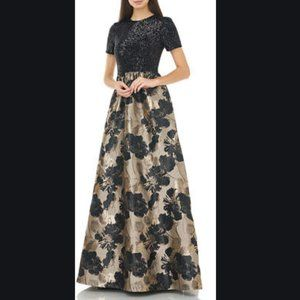 Carmen Marc Valvo Infusion Pleated Floral  maxi